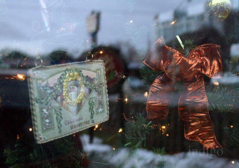 Spa window-vintage postcard ornament